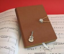 Acoustic Guitar Pewter Motif A6 Note Book Lined Pages Music Teacher Student Gift