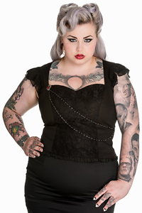 4XL-UK-22-New-Plus-Size-Black-Lace-Vintage-Brooch-Top-Victorian-Hellbunny-Gothic