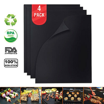 Copper BBQ Grill Mat and Bake Mat Non Stick Black Grill & Baking Mats 4-Pack