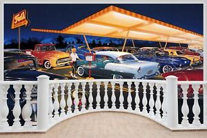 Huge-3D-Balcony-Rock-A-Billy-50-039-S-America-Diner-Wall-Sticker-Decal-1110