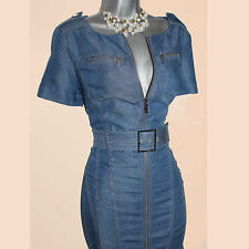 Karen Millen Blue Tencel Denim Front Zip Office Shirt Pencil Dress UK-8/36 DN015