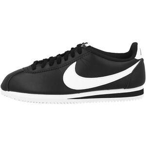 NIKE-CLASSIC-CORTEZ-Piel-Zapatillas-de-mujer-Zapatos-Blanco-y-negro-807471-010