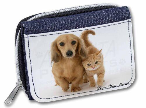 Dog and Kitten /'Love You Mum/' Girls//Ladies Denim Purse Wallet Chris AD-DU1lymJW