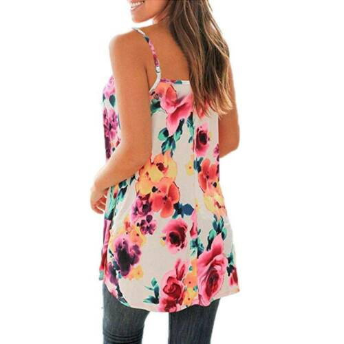 Womens Sleeveless Vest Cami Tops T Shirt Ladies Summer Floral Loose Tank Blouse