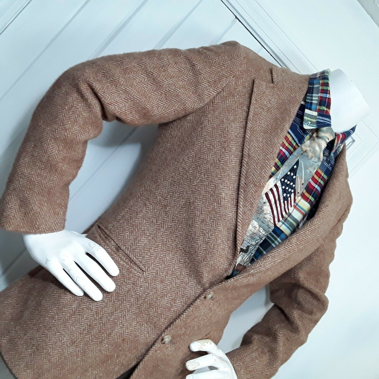 VTG  Ralph Lauren Polo Mens Wool Sport Coat Blazer Herringbone Brown USA 39 R