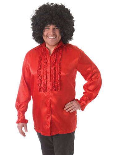 Details about  Mens Red Satin Ruffle 50's 60's 70's Austin Powers Disco Fancy Dress Shirt New