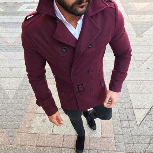 Mens Slim Trench Coat Double Breasted Jacket Overcoat Peacoat Tops Outwear Warm
