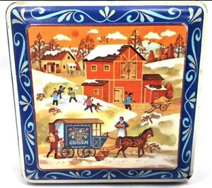 Tin Box Company Daher Eastern European Village Small Square Folk Art Storage Box