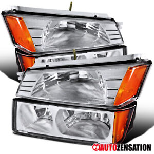 For-2002-2006-Chevy-Avalanche-1500-2500-Clear-Headlights-Bumper-Signal-Lamp-Pair