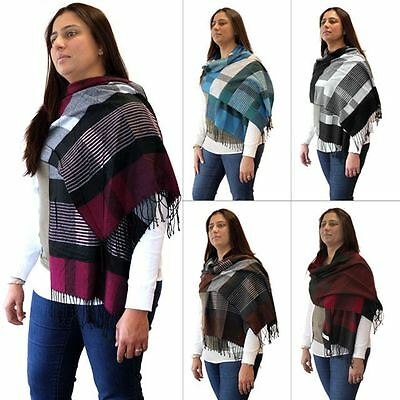 Womens Laides Neck Scarf Tartan Plaid Warm Wrap Pashmina Shawl Soft Touch