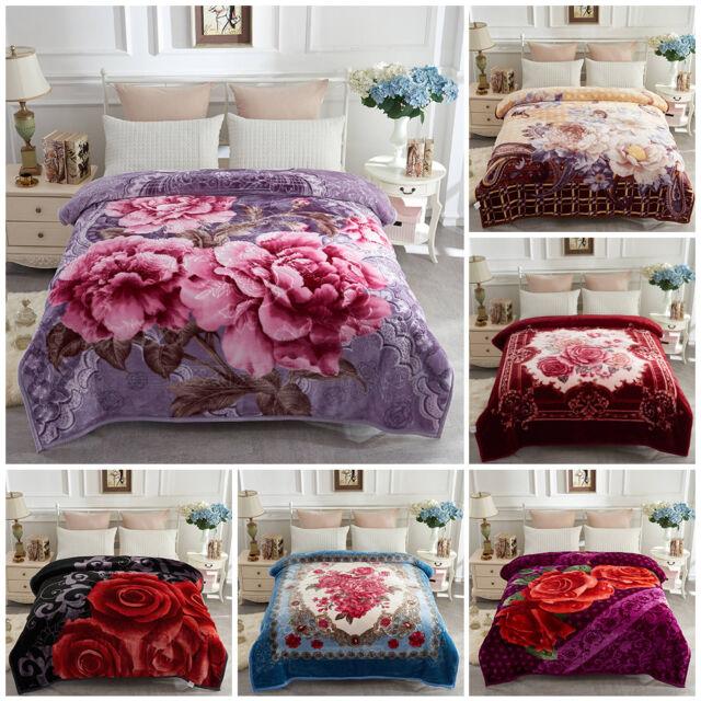 Soft Warm Korean Style 2 Side Printed Raschel Bed Blankets 77