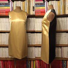 Balenciaga Vestido UK 8-10/US 4-6 100% Seda Raso Dos Tonos Oro Gris Cambio De Colección