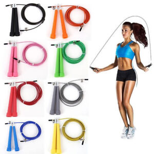 US-Steel-Wire-Speed-Skipping-Jump-Rope-Adjustable-Crossfit-Fitnesss-Exercise-3M