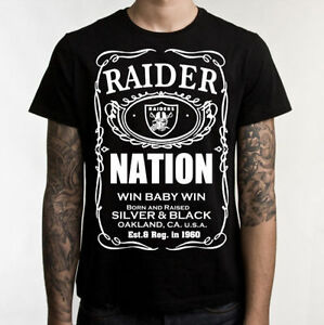 Image is loading Straight-Raider-Nation-T-Shirt-Oakland-Raiders-Silver- 36f1ff504