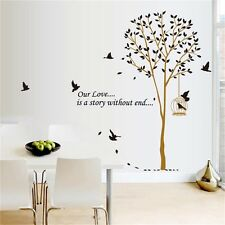 Black Tree Birds Leaves PVC Art Quote Wall Stickers Wall Decals Wallpaper decor