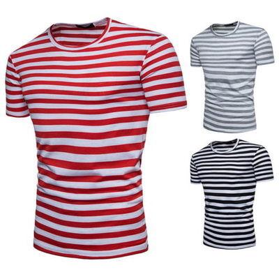 Mode Hommes T-shirts à rayures D'été À Manches Courtes Hauts Casual T-shirts