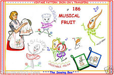 Musical Veggies embroidery transfer IRON-ON TEA TOWELS PATTERNS #186
