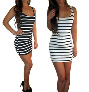 Womens-Ladies-Black-Top-Bodycon-Mini-Vest-Stretch-Dress-Size-8-10-12-14-16-18-20