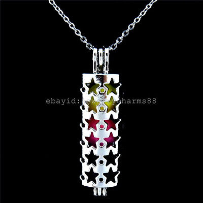 K248 Silver Oysters Cage Locket 32mm Flower Tube Stainless Steel Necklace MOM