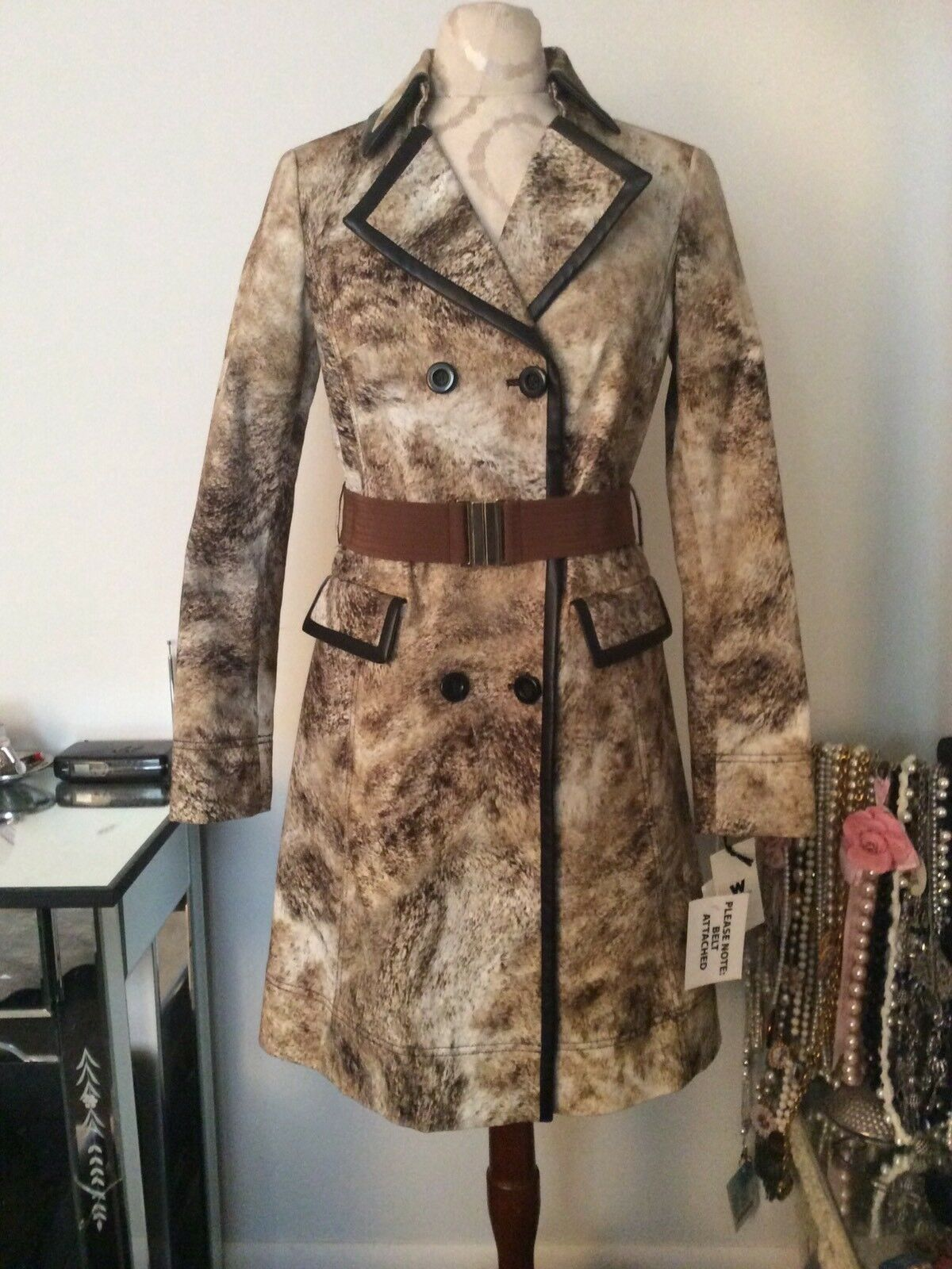 New W By Worth Brown Horse Hair Pattern Trench Coat SZ XP