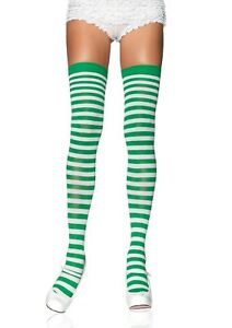 LEG-AVENUE-Elf-Green-and-White-Stripe-Striped-Stockings-Xmas-Punk-Dolly-Rave