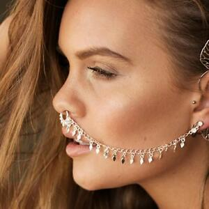 Pretty-Punk-Sexy-Geometric-Sequins-Tassel-Link-Chain-Earrings-Nose-Clip-Jewelry