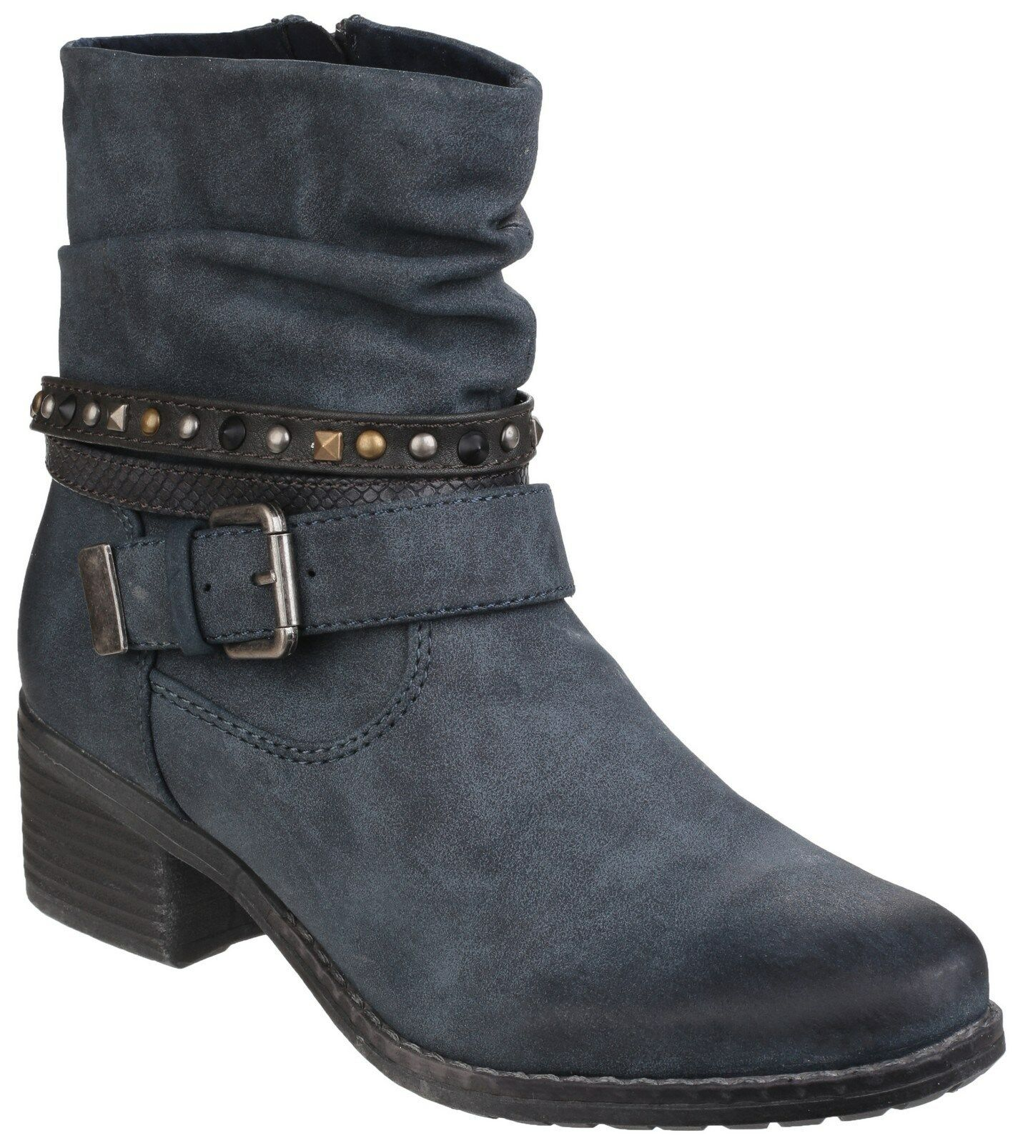 Divaz West Ankle Zip Up Damenschuhe Navy Heel Stud Fashion Stud Heel Stiefel Schuhes UK3-8 28c4cb