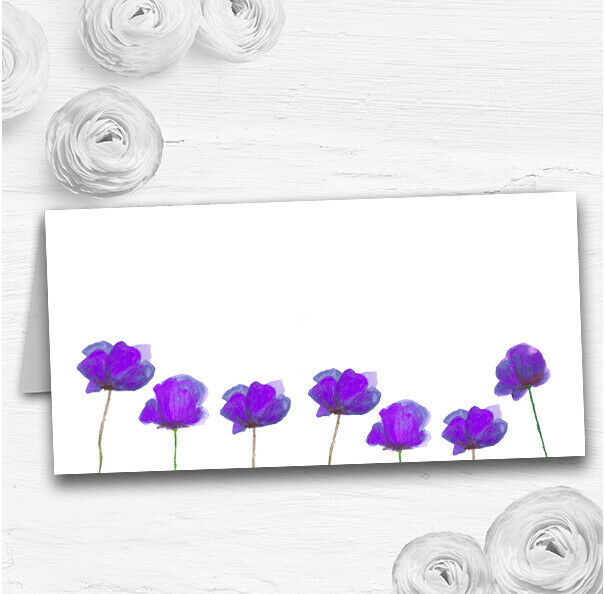 Stunning Watercolour Poppies lila Wedding Table Seating Name Place Cards