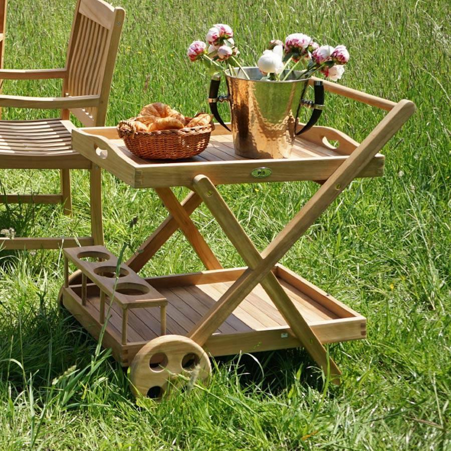 Teak Trolley Trolley Car with Removable Tray Garden Patio