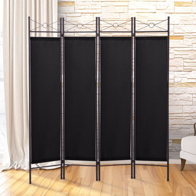 Black 4 Panel Room Divider Privacy Folding Screen Home Office Fabric