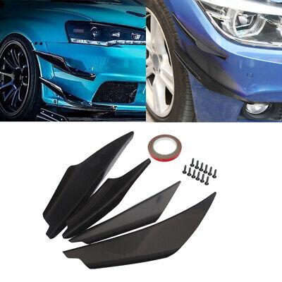 4pcs Universal Matte Black Car Front Bumper Fin Splitter Spoiler Canard Valence