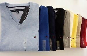 NWT-Tommy-Hilfiger-V-Neck-Men-Sweater-Pullover-Solid-Multi-Color-XS-S-M-L-XL-2XL