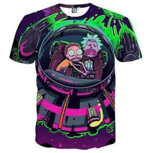 New-Cartoon-Mens-Womens-Rick-and-Morty-3D-Print-Casual-T-Shirt-Short-Sleeve-Tops