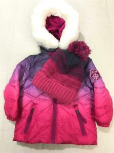 Snozu-Girls-Fleece-Lined-Winter-Coat-And-Hat-For-Toddler-Pink-Purple-Size-18M