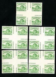 US-Stamps-766a-Lot-of-5-C-L-cross-gutter-blocks-Scott-Value-100-00