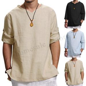 17bbf2c2d4dc Men Vintage Solid Loose T-shirt 3/4 Sleeve V Neck Hippie Baggy Tee ...