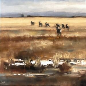 Whitetail-Deer-Painting-Winter-Landscape-Field-OIL-Painting-Original-CES-NFAC
