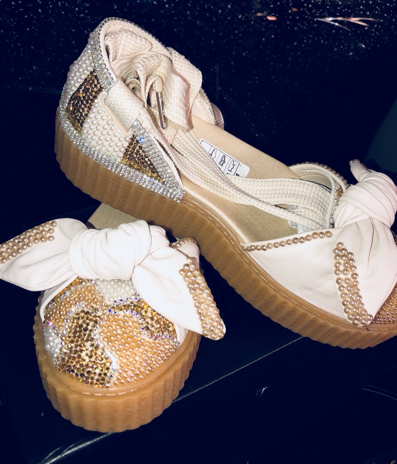 FINAL REDUCTION Ballet Customised Crystal Puma X Fenty Creeper Ballet REDUCTION Lace Rihanna 5 fdffa0