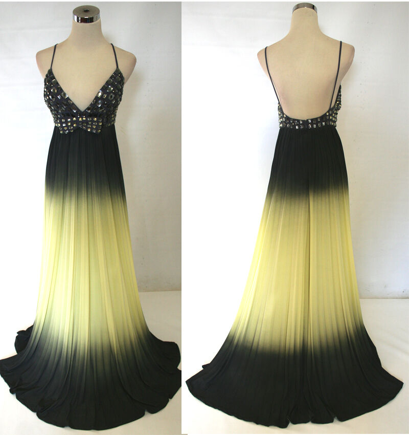 NWT JOVANI 14669 Yellow   Grey Prom Party Evening Evening Evening Gown 0 1aa81e