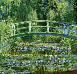 Art-Oil-painting-Monet-Nihonbashi-Lotus-Pond-Weeping-willow-in-summer-view