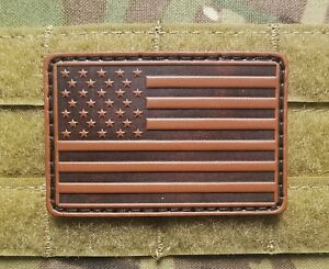 Details about Brown Leather US American Flag Tactical Hook Backing 2x3  Morale Patch