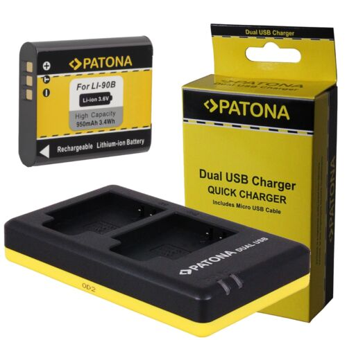 Patona BATERIA li-90b dual cargador para olympus stylus Traveller sh-2//li-92b