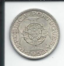 Angola 10 escudos 1952 KM 73 Rare High CV Silver Ag Africa Portuguese Colony
