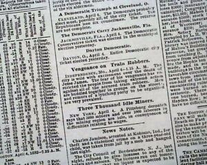 Details about Outlaw Gang JESSE JAMES Robert Ford St  Joseph MO  ASSASSINATION 1882 Newspaper