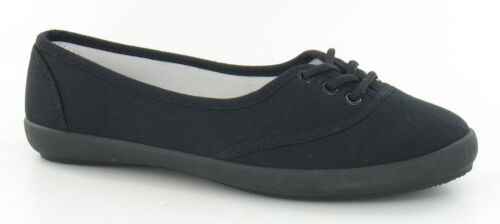 Spot On F8854 Ladies Black Lace Up Textile Canvas Casual Summer Shoes