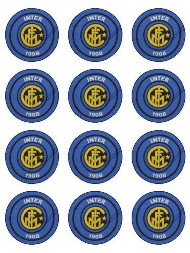 12 Inter Milan Soccer Edible Icing Image Birthday Cupcake Topper Cake Decoration