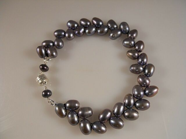 Sterling Silver, Gray Oval Shape Freshwater Pearl Mith Magnetic Clasp Bracelet