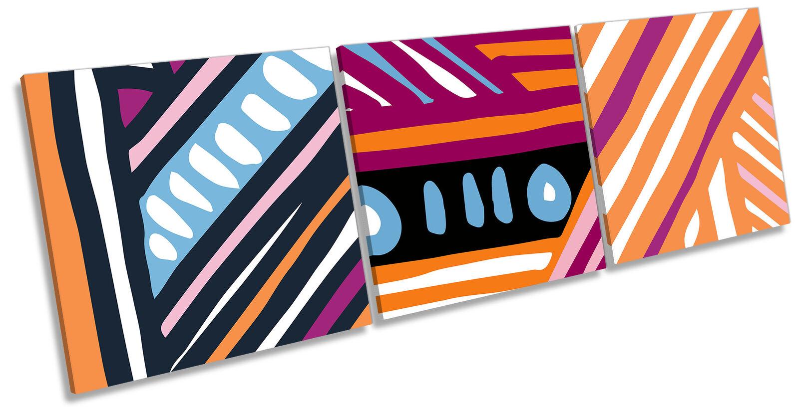 Funky Abstract Pattern Set of 3 CANVAS Wand Kunst Drucken Treble Multi-Colourot