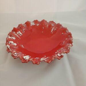 8-034-Vintage-Red-Ceramic-AshtrayTrinket-Dish-Retro-Boho