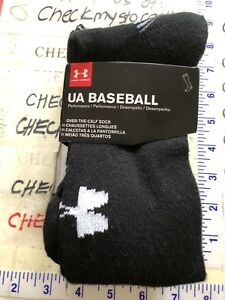 5ee85bac29 Details about 2 Pairs Mens UA UNDER ARMOUR Baseball Crew Socks BLACK (4-8.5  Shoes) Size MEDIUM